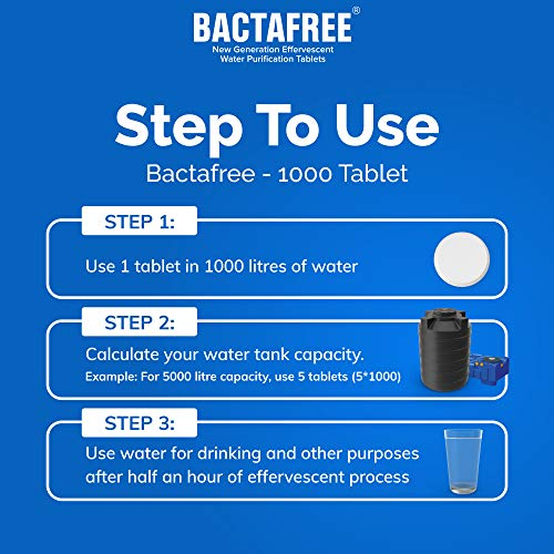Bactafree 1000 Water Purification Tablets - Use for Overhead & Underground Water Tank - 1 Tablet Purifies 1000 liters Water - Each Water Purifying Tablet Tube Contains 12 Tab - Pack of 2 (24 Tablets)