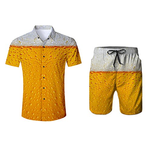 Pandodut Birra Stampa 2 T-Shirt Pezzi Set 3D e Divertente Estate Pantaloncini da Uomo Stampa Beach Wear Turn-Down Suit L
