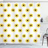 ABAKUHAUS Gelb Duschvorhang, Sonnenblume-Muster-Natur, mit 12 Ringe Set Wasserdicht Stielvoll Modern Farbfest & Schimmel Resistent, 175x180 cm, Gelb