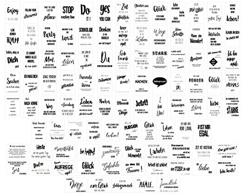Edition Seidel Set 100 Postkarten Leben & Momente mit Sprüchen Karten mit Spruch Geschenk Geschenkidee Geburtstagskarten Geburtstag Liebe Freundschaft Leben Motivation lustig schwarz weiß (20555)
