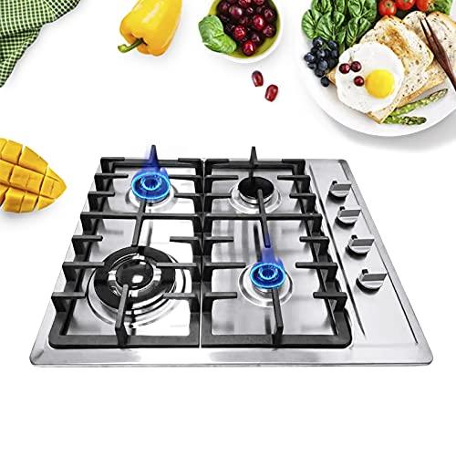 Cocina de gas, 4 fuegos, placa de cocción de gas, 4 fuegos, placa de cocción de gas, acero inoxidable, marco de hierro.