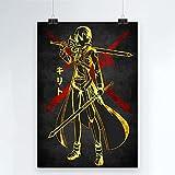 Juego Novela Sword Art Online Póster de Lienzo Comic Impreso Decoración Pintura Sala de Estar Niño Pared Moderna Decoración para el hogar 50x70cm (19.68x27.55 in) Q-1390