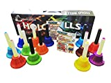 GiftedMusicKids 13 Chromatic C Hand Bell Set Diatonic Metal Bells for Children with Colorful SongBook