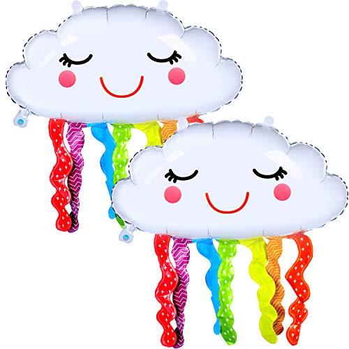 6 Piezas Globos de Papel de Aluminio de Mylar con Forma de Nube de Arco Iris Globos de Borla de Cara Sonriente para Suministros de Decoraciones de Fiesta Cumpleaños Baby Shower