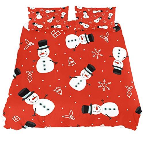 267 JlOn Microfiber Kid Bedding Set Christmas Snowman Red Pattern 3 Pieces JlOn Microfiber Duvet Cover Sets Boys and Girls King