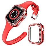 DABAOZA Compatible for Apple Watch Band 44mm with Case, Soft Silicone Band Narrow Thin strap with Bling Dressy Sparkle Cover Protective Rhinestone Bumper Frame for iWatch SE Series 6 5 4 (Red, 44mm)
