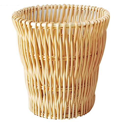 77SRF Trash Bin Handmade Rattan Weaving Retro Waste Paper Basket Clothes Basket Storage Multifunction Wicker, 2 Colors   12L SRF (Color : BROWN, Size : 25X27CM(12L))