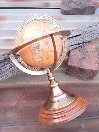 Ganga Nautical Globo de esfera marina de latón antiguo para decoración de oficina, 25,4 cm