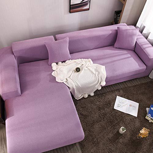 cubierta antideslizante en tejido elástico extensible 3 plazas y 4 plazas, funda de cojín de asiento de sofá grueso, protector de muebles, funda de sofá de esquina de color sólido elástico 2 piezas