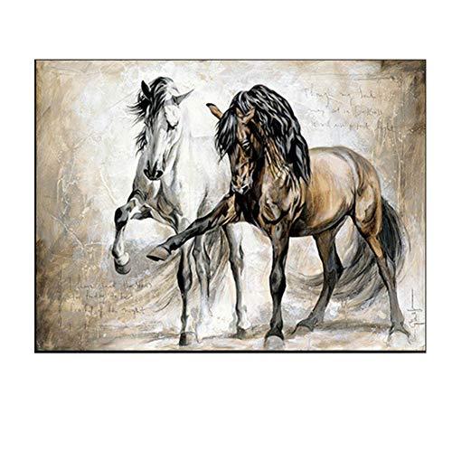 GXFCFF Bilder 120 × 80 CM-3-Größen zur Auswahl-Pferde Wandbild Leinwandbild XL,Gemälde auf Leinwand gedruckt, Wohndekoration Poster für Wohnzimmer und Schlafzimmer-rahmenfrei,80×120CM