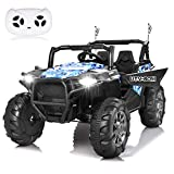 papasbox Electric Ride on Cars,12V Off-Road UTV,2.4G Remote Control Ride On Truck, Motorized Vehicles for Kids,Music,3 Speeds, Spring Suspension,LED Light