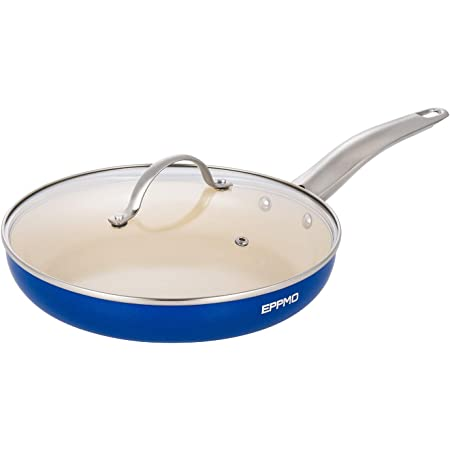 Eppmo Nonstick Ceramic Frying Pan With Lid 12 Inch Sapphire Blue Kitchen Dining