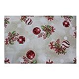 Acomoda Textil - Tela por Metros Estampado Navidad, Loneta Estampada para Tapizar, Manualidades y Forrar, 280 CM Ancho. (Bolas Beige, 1m)