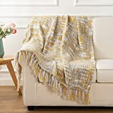 Battilo Knit Throw Ultra Soft Warm Sleeping Cover Blanket Rug for Bedroom Sofa Office and Living Room 60'x 50' (Ochre)