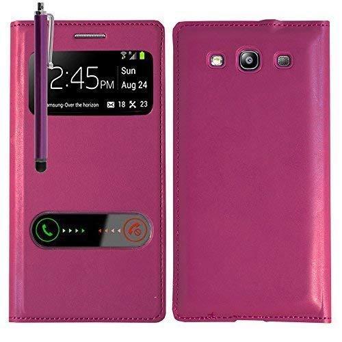 VCOMP Custodia Cover Guscio sportellino Vista Compatibile per Samsung Galaxy S3 i9300/ i9305 Neo/LTE 4G - Viola + Pennino