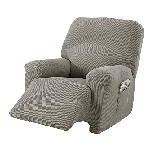 Great Bay Home Popcorn Textured Recliner Slipcover. Form Fit, Slip Resistant, Strapless Slipcover. Stretch Recliner Slipcover. Kova Collection (Recliner, Silver Cloud)