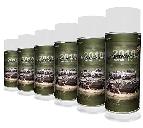 Bote de pintura en espray, pintura de pintura de militares, lata de tarro de pintura de camuflaje natural, 6 x 400 ml, color verde oliva RAL 6003