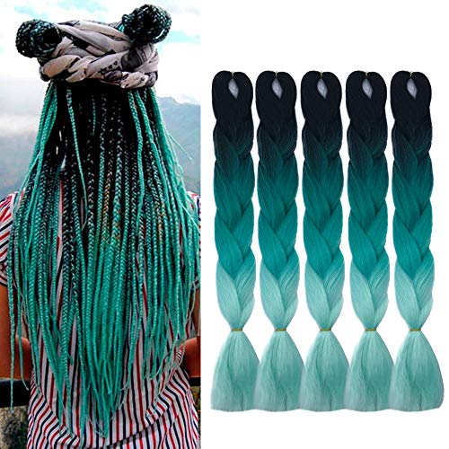 24 Inch Ombre Jumbo Braiding Hair Extensions Ombre Braiding Hair 5 Pack Ombre Kanekalon Braiding Hair Synthetic Fiber Hair For Braiding(Black to Green to Light Green)