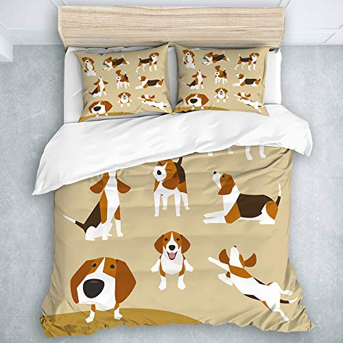 LOSUMIGE - Bedding - Duvet Cover Set, The various operations of cute beagle, Microfibre Duvet Cover Set,King Size(230 * 220cm)