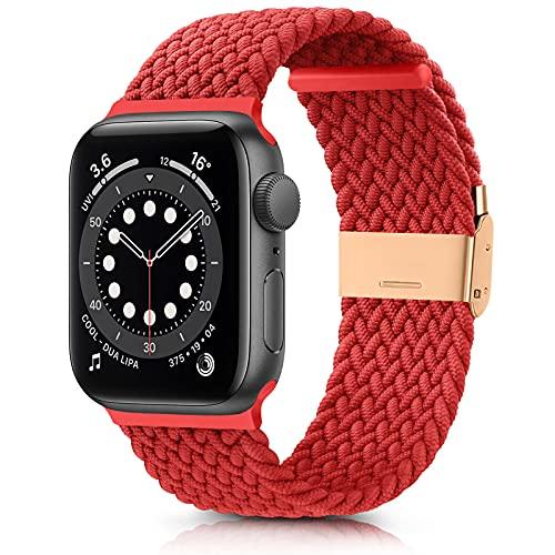 DEOU Correa Compatible con Apple Watch 38mm 42mm 40mm 44mm,Ajustable Trenzada Elástica con Hebilla Pulseras de Repuesto Deportiva Correa para iWatch Series SE 6 5 4 3 2 1(38mm/40mm,Rojo)