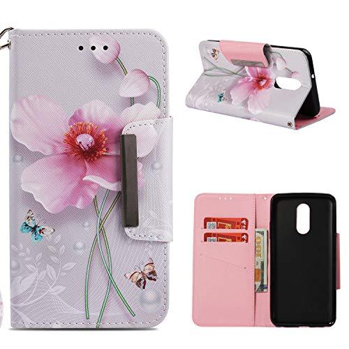COZY HUT LG Stylo 4 / LG Q Stylus Schutzhülle, Premium Leder Hülle Flip Case Tasche Hüllen mit Magnetverschluss Standfunktion Schutzhülle handyhüllen für LG Stylo 4 / LG Q Stylus - Perlenblume