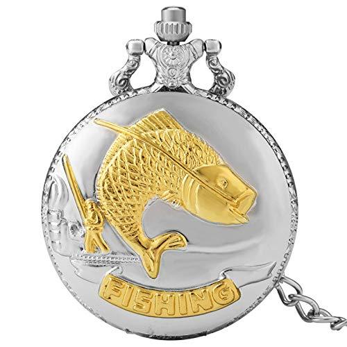 ZHAOXIANGXIANG Reloj De Bolsillo Retro,Exhibición De Pesca Movimiento De Cuarzo Reloj De Bolsillo Números Árabes Esfera Redonda Plata Oro Colgante Retro Relojes De Bolsillo Regalo