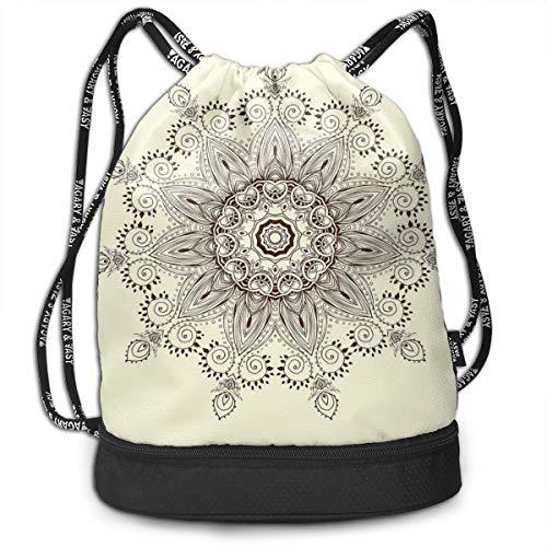 Multipurpose Drawstring Bag for Men & Women, Arabesque Mandala Ritual Symbol Universe Unity of Life Shabby Chic Ethnic Motif,Tote Sack Large Storage Sackpack for Gym Travel Hiking