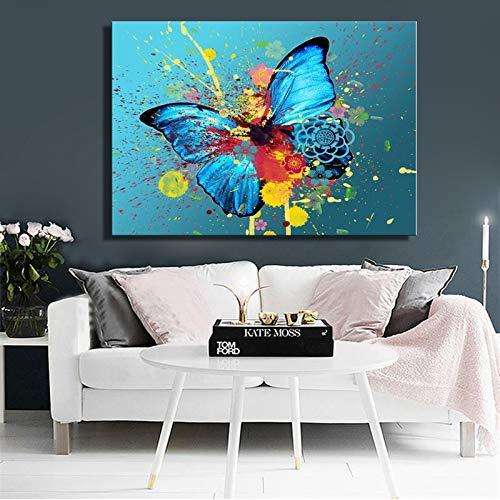 wZUN Pittura a Olio Moderna Poster e Stampe murales Acquerello Inchiostro Farfalla Soggiorno Immagine su Tela 50x70 cm