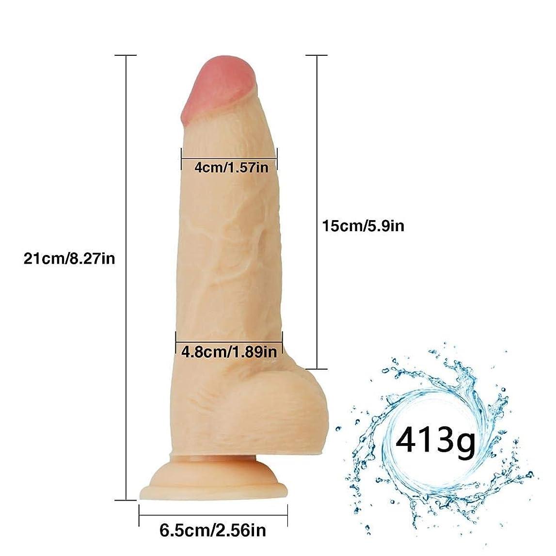 ハッチ回転する和解するSONGYU 女性初心者のための吸引カップ8.27インチの現実的な柔らかいマッサージの細い棒