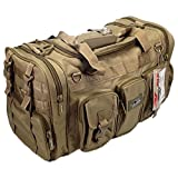 NPUSA Mens Large 22' Inch Tan Duffel Duffle Military Molle Tactical Gear Shoulder Strap Travel Bag