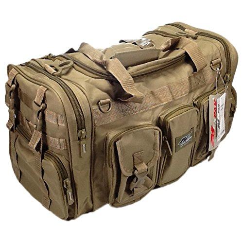 "NPUSA Mens Large 22"" Inch Tan Duffel Duffle Military Molle Tactical Gear Shoulder Strap Travel Bag"