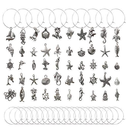 Hamnor - 50 ciondoli per bicchieri da vino, in lega di argento, con 50 anelli e 1 scatola per la decorazione del vino