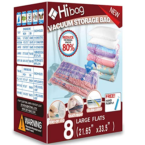 Hibag Space Saver Bags Vacuum Storage Bags with Hand Pump for Home Storage and Travel Usage 8-Large