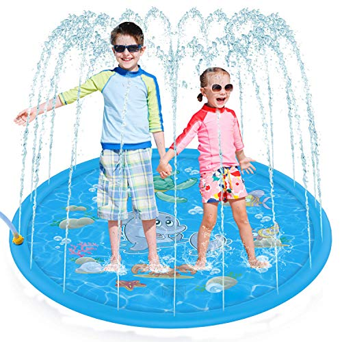 Tobeape Upgraded Sprinkler Splash Pad for Kids, Inflatable Outdoor Water Mat Toys Wading Swimming...