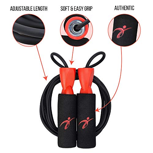 Adjustable Jump Rope with Carrying Pouch - Tangle Free Cardio Workout Skipping Rope for Men, Women, and Children of All Heights and Skill Levels - Great for Crossfit, Boxing, MMA, and HIIT Workouts