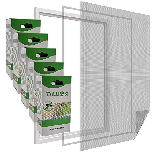 DILUMA | Fliegengitter Fenster 130x150 cm Schwarz 5er Set | Durchsichtiges & Kürzbares Fliegennetz mit 5,6m Klettband | Zuverlässiger Schutz vor Mücken, Fliegen & Insekten - Insektenschutz ohne Bohren