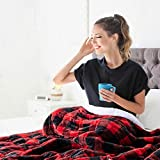 Topblan Sherpa Fleece Weighted Blanket 20lbs, Double Sided with Fuzzy Fleece and Shaggy Sherpa to Help with Better Sleep, 60x80 inches, Tartan Red & White