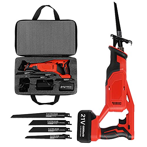 Reciprocating Saw 21V ESSGOO Cordless Saw with 6000mAh Lithium-ion Battery, 0-3000rpm Variable Speed Electric Saw, 4 PCS Saw Blades, Fast Charger,Carrying Case, Ideal for Wood and Metal Cutting