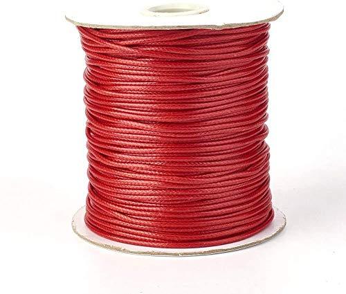 Cheriswelry Rollo de cuerda de poliéster encerado coreano de 2 mm, cuerda trenzada para cuentas para manualidades, manualidades, macramé (FireBrick)