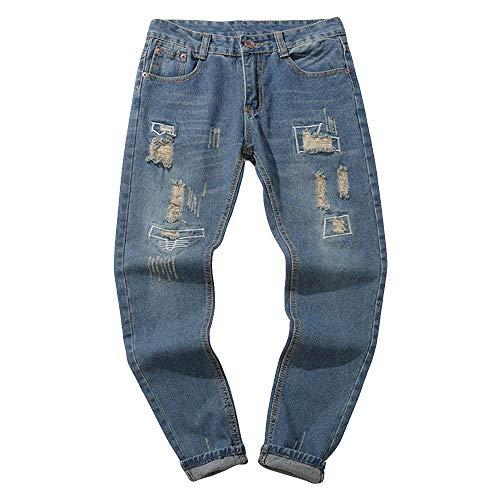 Qiuday Herren Straight Jeans Shredded Large Size Denim Pants Chino Hose Slim Dunkelblau Vintage Look Karo mit Aufschlag geradem Schnitt Broken Hose Basic Trekking Outdoorhose Gürtel Leg Jeanshose