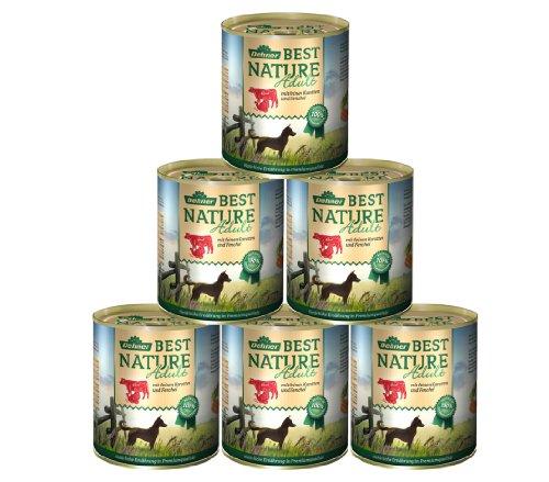Dehner Best Nature hondenvoer, volwassene rund en kalkoen met wortelen, Rund- en kalkoen met wortels, 6 x 800 g