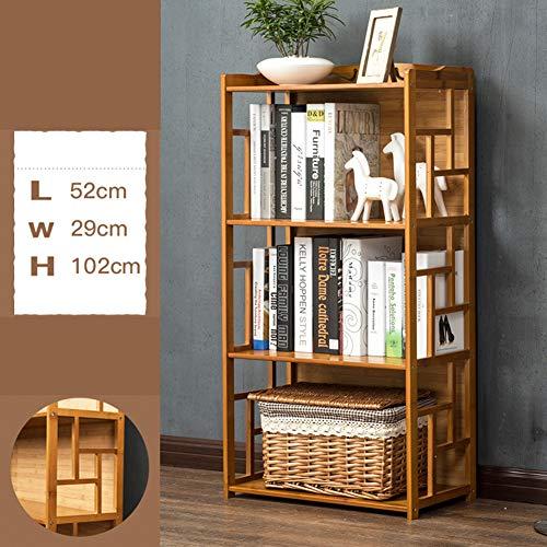 XXLLQ Rústico Librería de De bambú, Separador de Espacios, Estantería de Exposición, Decoración Contemporánea de 2/3 Niveles,3-Tier-42 * 29 * 102cm