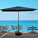 JEAREY 6.5x10 FT Rectangula Patio Umbrellas Aluminum Outdoor Umbrella Market Table Umbrellas with Push Button Tilt, Crank and 6 Sturdy Ribs for Lawn, Garden, Deck, Backyard & Pool, Navy