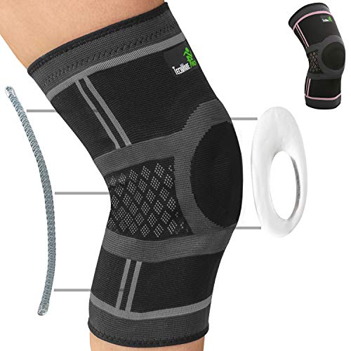 TechWare Pro Knee Compression Sleeve - Knee Brace for Men & Women with Side Stabilizers & Patella Gel Pads for Knee Support. Meniscus Tear, Arthritis, Joint Pain Relief. (Black/Gray-Large)