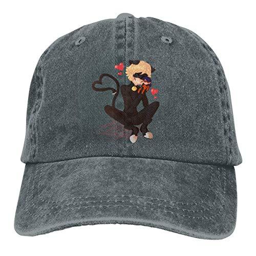 Men Vintage Adjustable Cap Custom Cat Noir Little Girl Funny Casual Fashion Hat, Red Sombreros y Gorras
