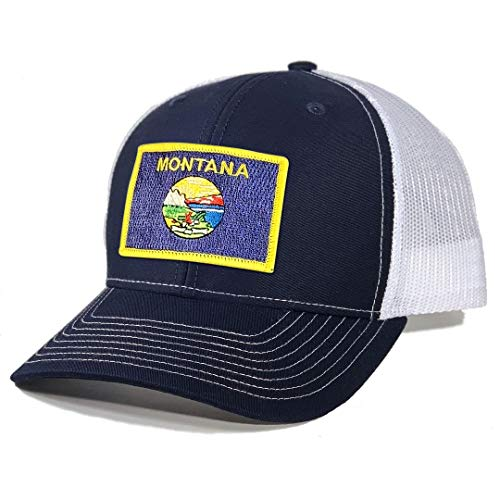 Homeland Tees Men's Montana Flag Patch Trucker Hat - Navy/White