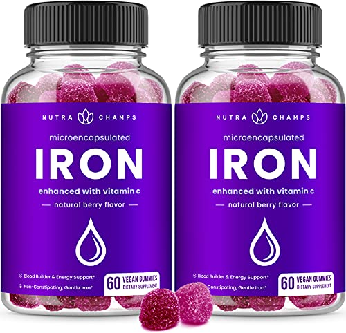 (2-Pack) 120 Iron Gummies Supplement for Adults & Kids - 20mg Microencapsulated Iron Gummy with Vitamin C for Women & Men - Blood Builder & Energy Support for Anemia & Iron Deficiency - Vegan Chewable