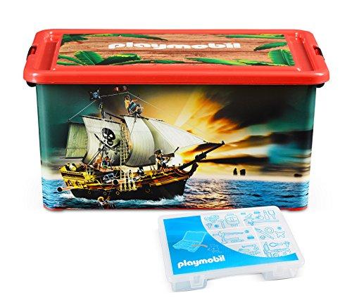 Playmobil- Grande Rangement 23 L Pirates + Boîte compartimentée, 064661