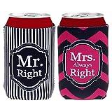 Manche Porte Canette de Bière Mr Mrs Right Refroidisseur Décoration de Mariage
