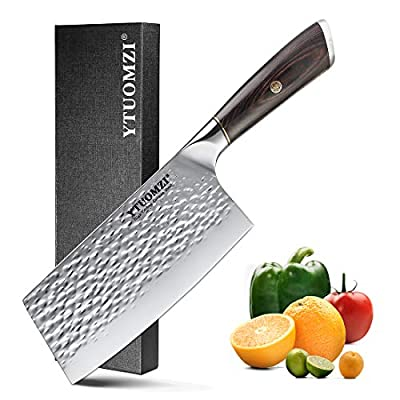 YTUOMZI Meat Cleaver 7 Inch Cleaver Knife German High Carbon Stainless Steel chef Knife and kitchen knife with Ergonomic Handle for Home Professional Butcher's Knife for Kitchen and Restaurant